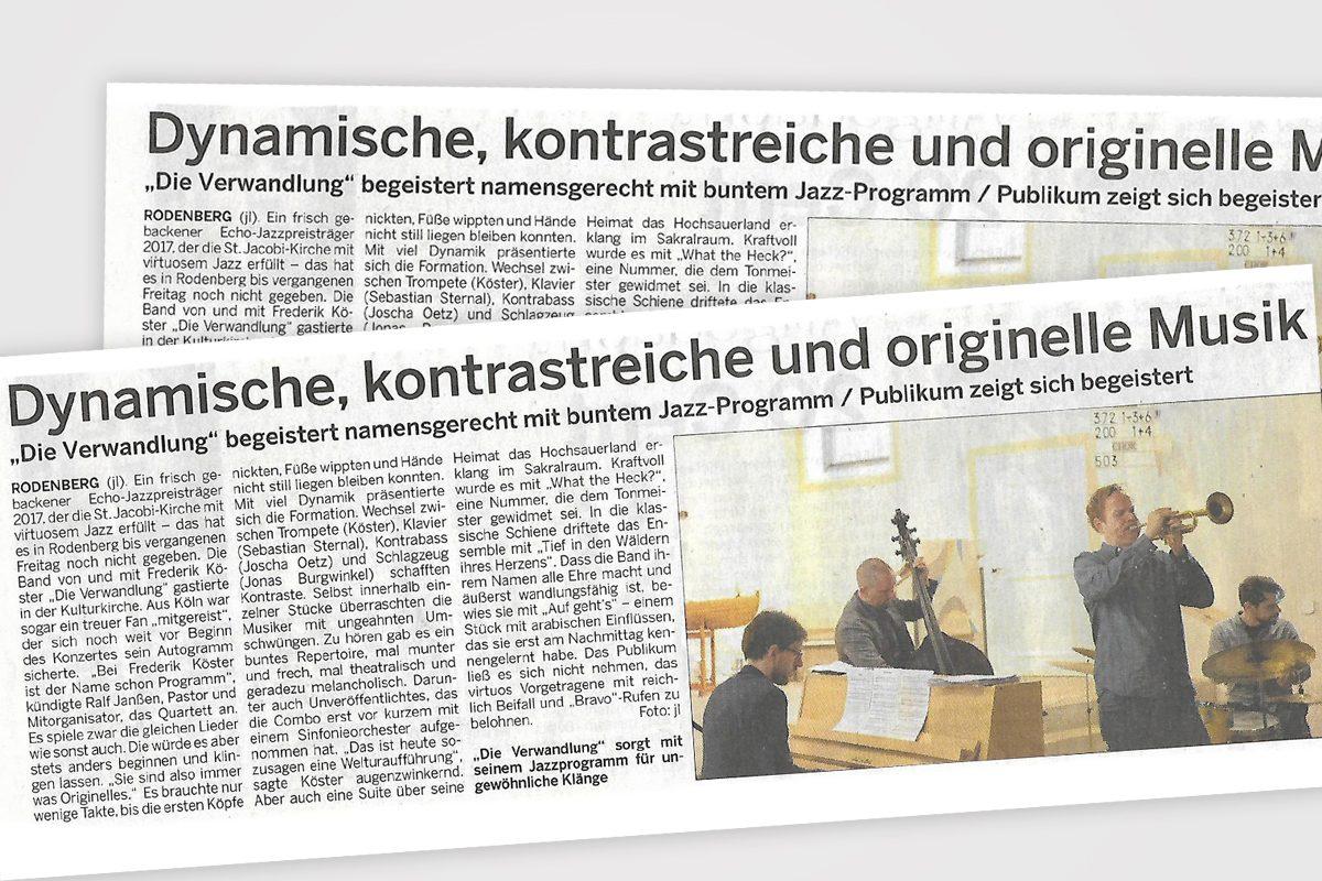 Frederik Köster & Die Verwandlung – Jazzkonzert